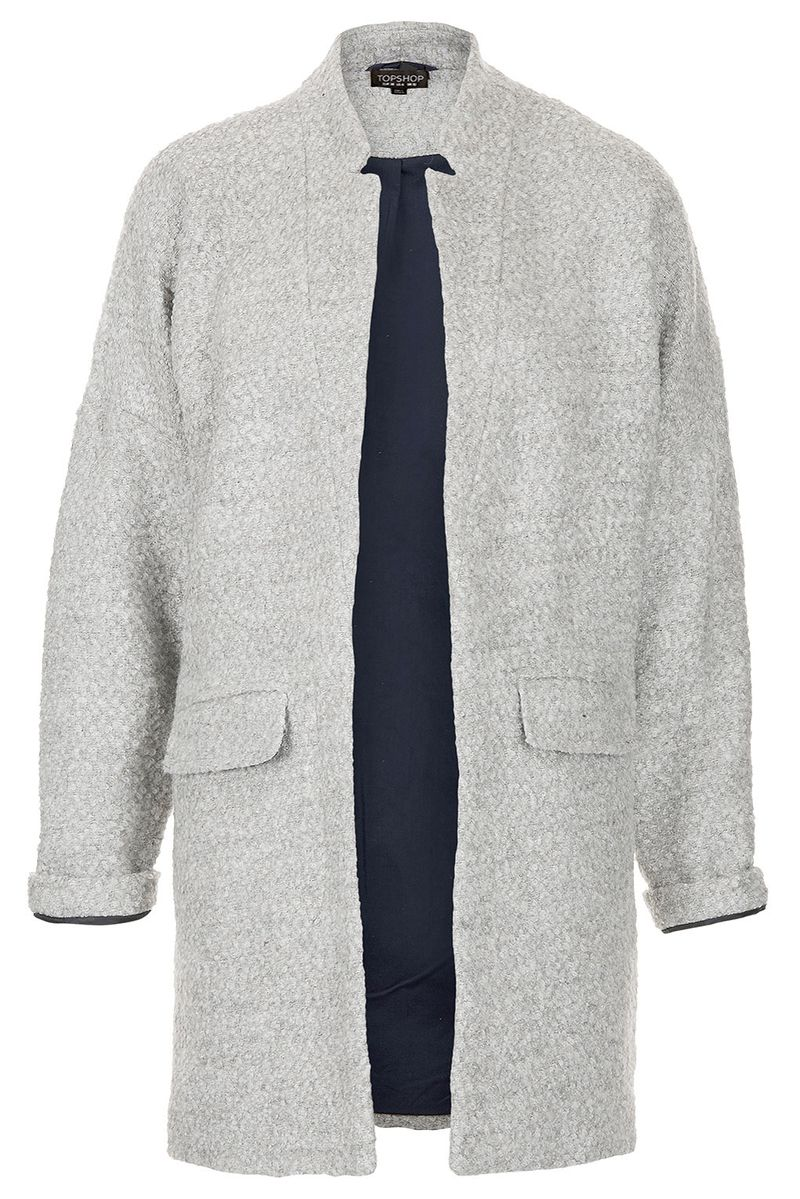 Notch neck throw coat